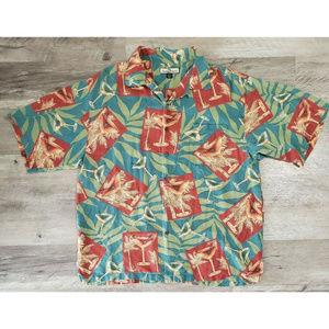 Tommy Bahama Mens Hawaiian Blue Silk Size XL Shirt